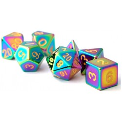 MDG Torched Rainbow Metal Dice Set